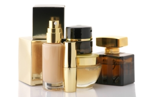 Various bottles of luxury cosmetics