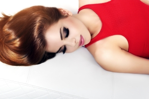 Beautiful woman sleeping with makeup on