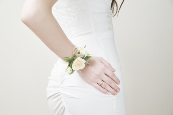 Bride with corsage on wrist