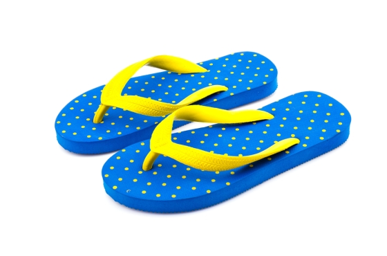 blue and yellow flip flops