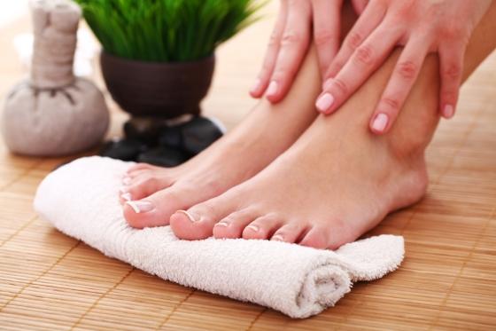 Toes on towel- preparing for pedicure