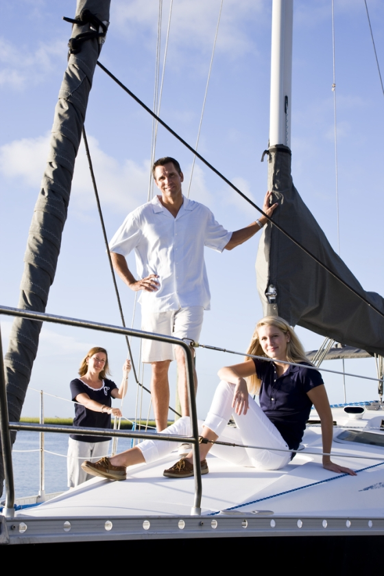 Family on yacht for Father's Day