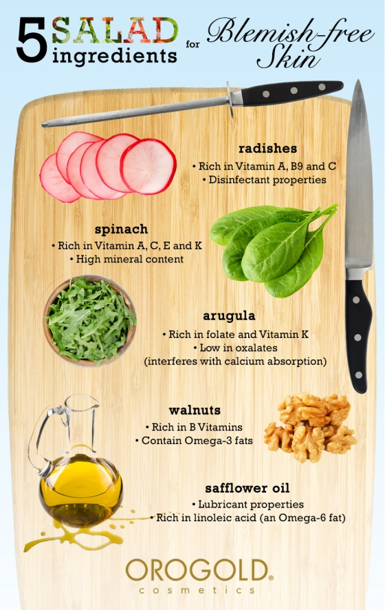 5 Salad Ingredients for Blemish Free Skin Infographic