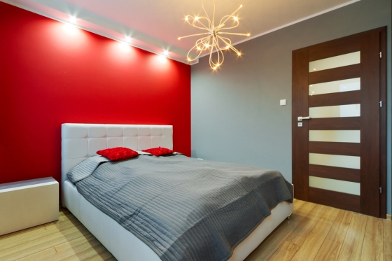 Bright red accent wall