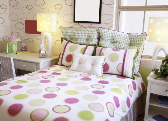 Vivid children's bedroom with circle print patterns