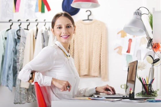 Personal shopper sitting in her office