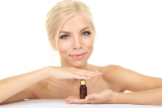 Woman with face oil