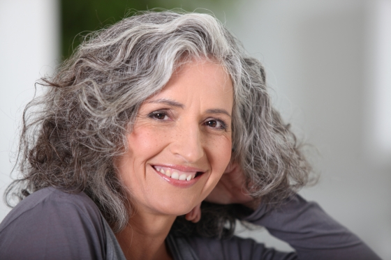 Mature woman with soft hair style and texture