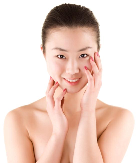 Korean woman showing off her beautiful skin