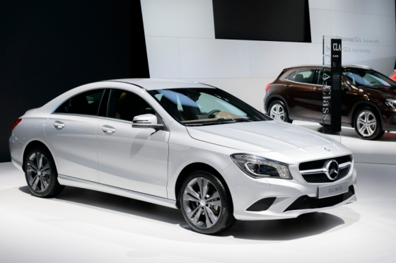 Silver Mercedes Benz CLA compact saloon car on display at the 2014 Brussels motor show.