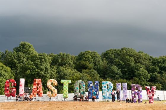 Glastonbury music festival sign