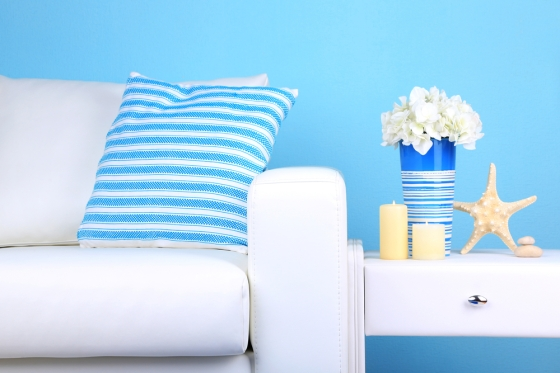 A blue colored interior for a nautical home.