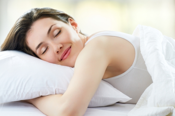 Woman sleeping on a pillow.
