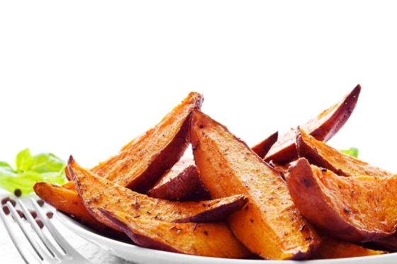 Bowl of homemade baked fries.