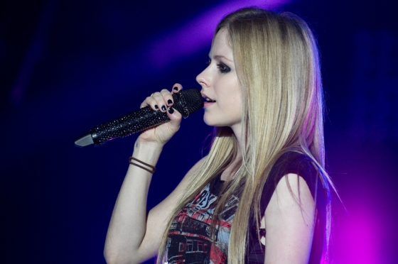 Avril Lavigne at a concert.