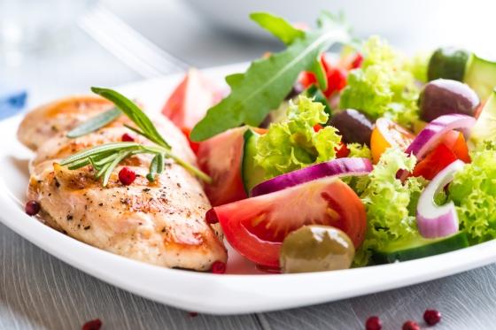 Grilled chicken with fresh salad.