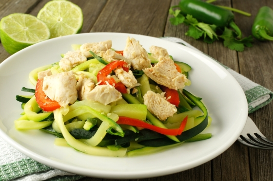 Zoodles with chicken.