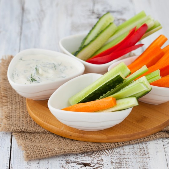 Healthy dip with an assortment of vegetables.