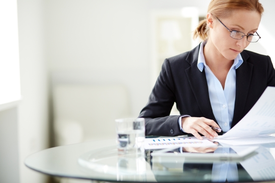 Woman working in an office.