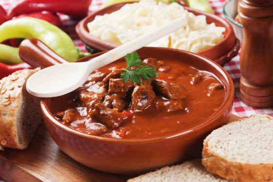 Traditional Hungarian goulash dish.
