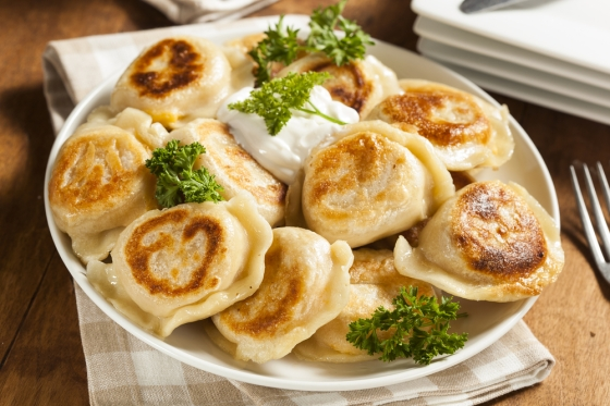 Traditional home-made Pierogi dish.