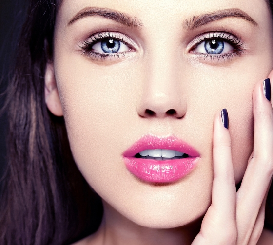 Pink lipstick.