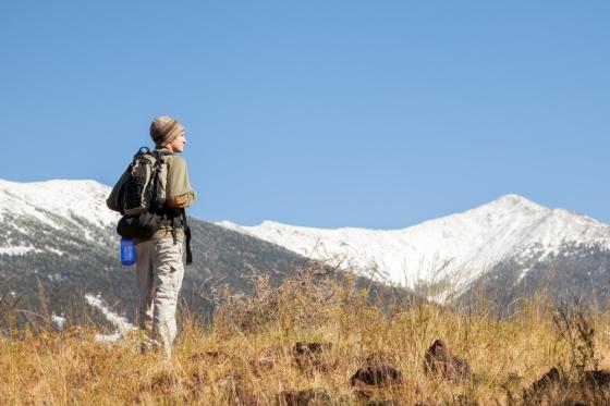 Climber looking at Humphrey's Peak