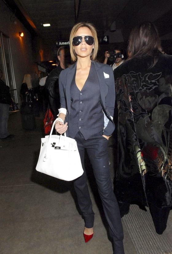 Victoria Beckham with Hermes Birkin bag