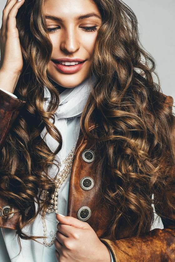 Woman wearing brown lipstick
