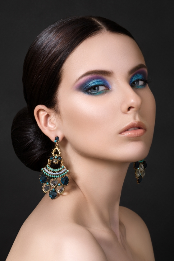Woman wearing blue eyeshadows
