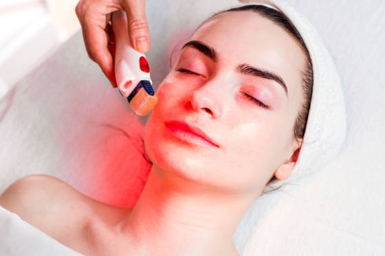 Woman getting a light therapy