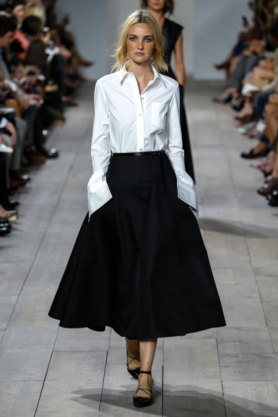 White shirt, high waist skirt