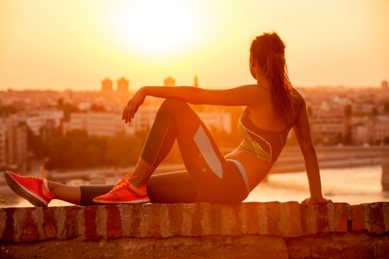 Woman resting after exercise