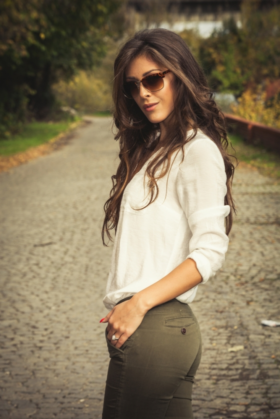 Woman wearing a white button down