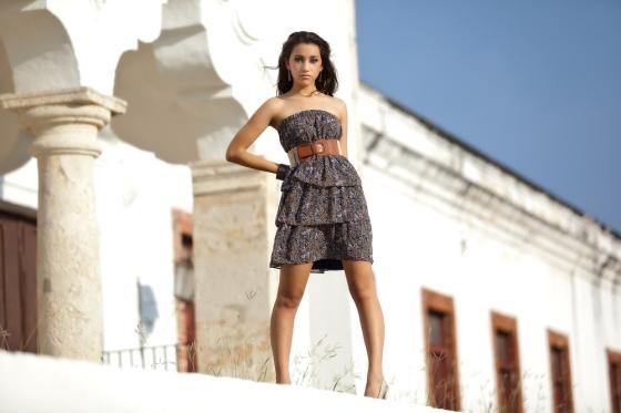 Woman wearing a strapless dress
