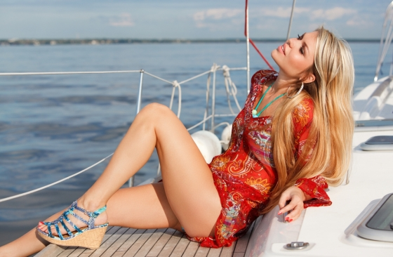 Woman enjoying a cruise