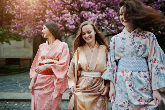 Women wearing kimonos