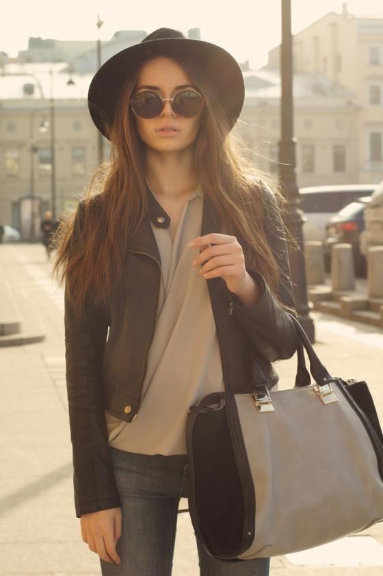 Woman wearing a black jacket
