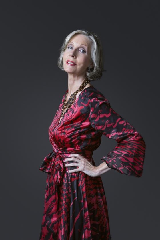 Mature woman wearing a bold dress