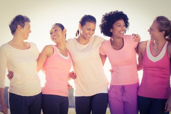 Women raising awareness of breast cancer