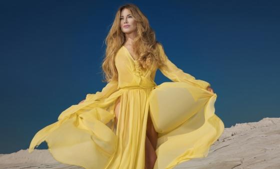 Woman in chifon maxi dress