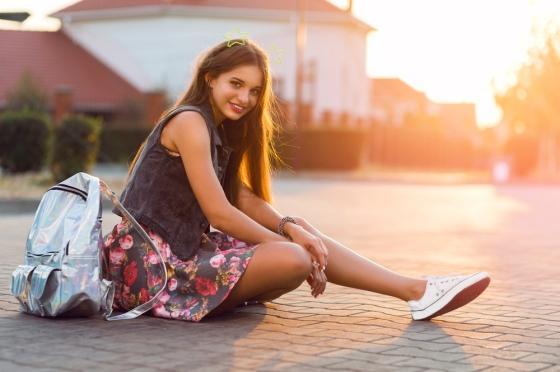 Woman in sneakers
