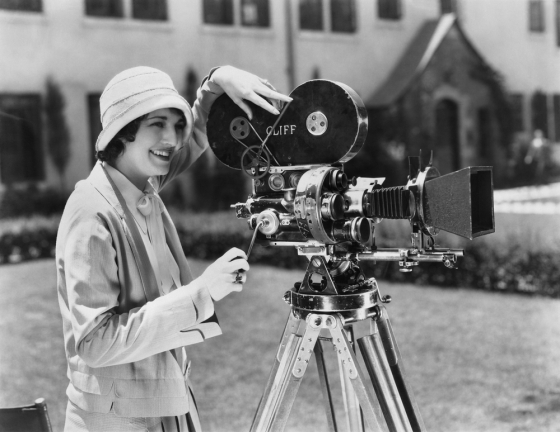 Woman using picture roll