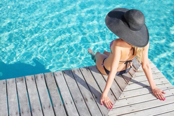 Woman poolside