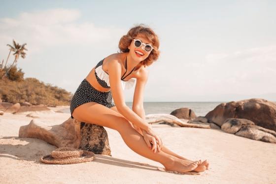 Woman in retro bikini