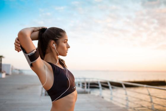 Woman stretching and staying active
