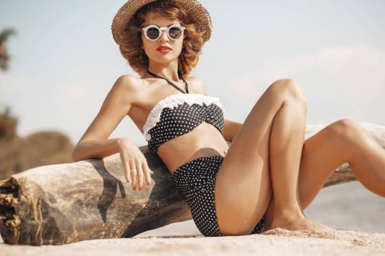 Woman in polka dot retro swimsuit