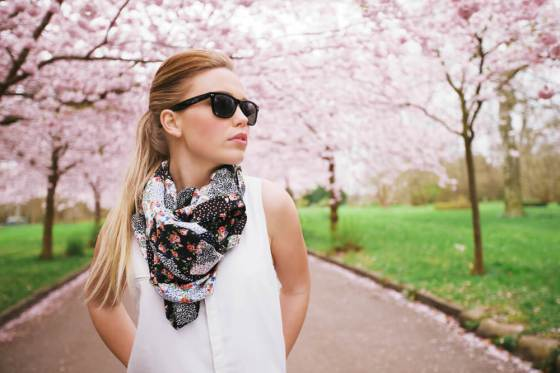 Woman with a printed scarf