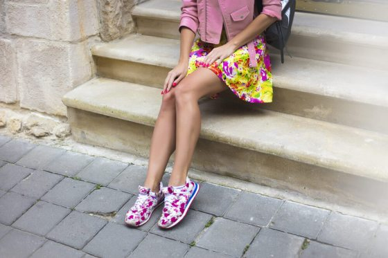 Woman with floral shoes